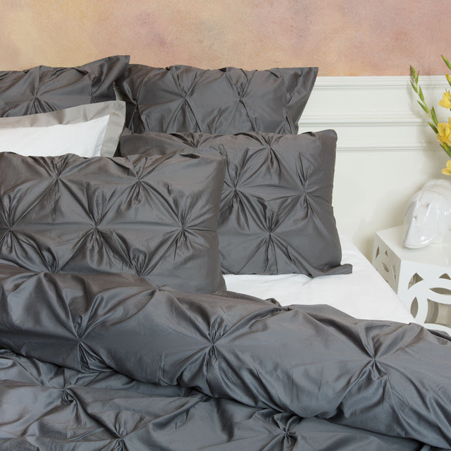 Valencia Gray Duvet Cover, King - contemporary - duvet covers ...