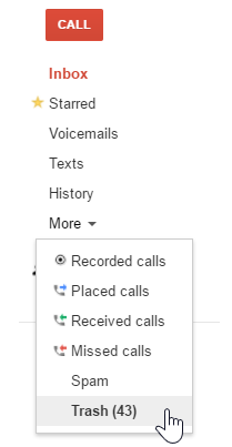 Incomingoutgoing call record kept by google voice google product you may also navigate pages by tweaking your url so for example if you want to goto page 4 youll visit httpsgooglevoiceb0trashp4 m4hsunfo