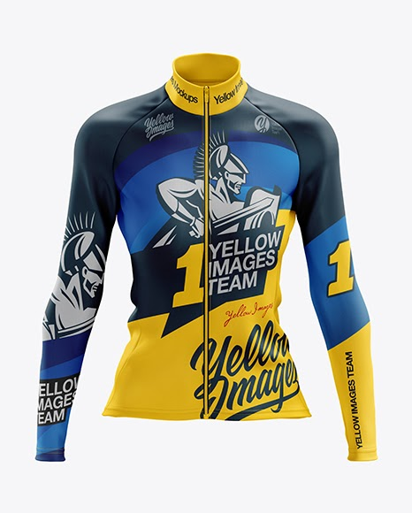 Download Free Women's Cycling Thermal Jersey LS mockup (Front View ...
