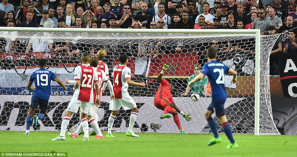 Ajax goalkeeper Andre Onana topples back into his goal after being wrong-footed by Pogba's early deflected effort
