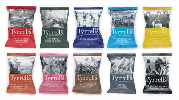 Tyrrells chips packaging design 7 30+ Crispy Potato Chips Packaging Design Ideas