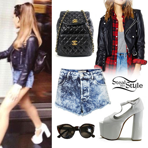 ariana grande leather jacket denim shorts  steal her style