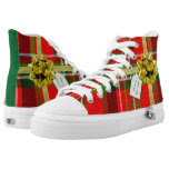 Personalize: Christmas Present Red Tartan Pattern Printed Shoes