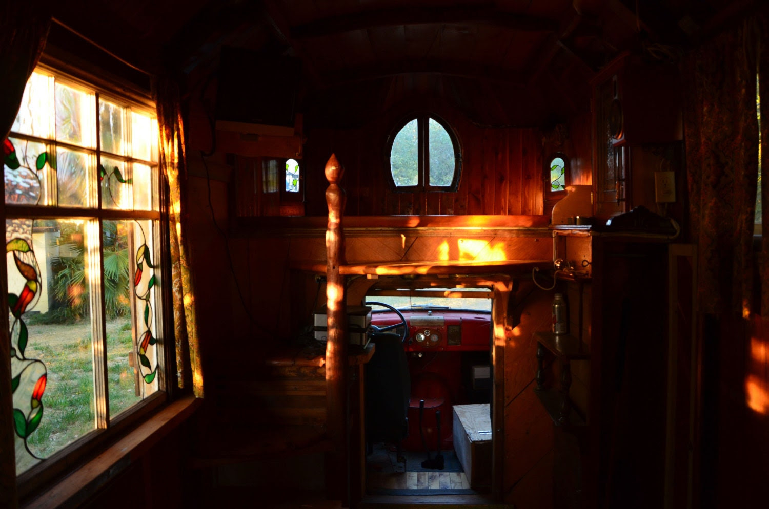 """Color Photo Gypsy Truck Inside Looking out the Stain Glass Window -- This Gypsy Truck is a """"lost in time"""" piece of Art  -- Instant Download - PhotosbyMarilyn"""