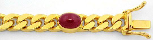 Foto 2, Massives Flachpanzer Goldarmband 5 Riesen-Rubine Luxus!, S8603