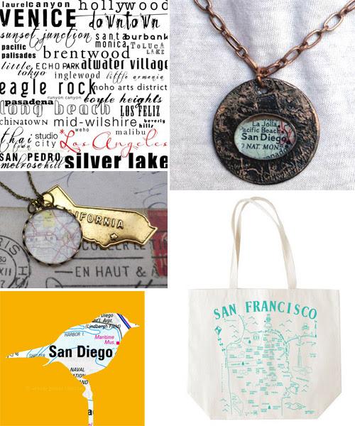 California map jewelry, digital art and tote bag