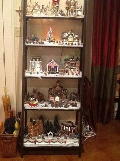 Display Christmas Village On A Ladder Bookshelf Christmas Xmas