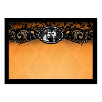 Orange Black Elegant Skeletons BLANK Place Cards