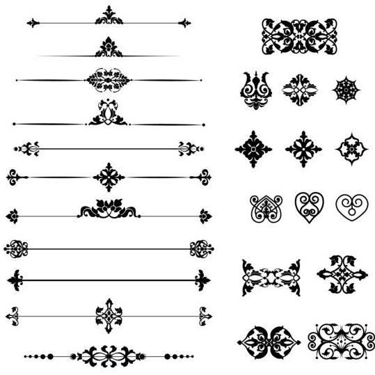 Black calligraphic ornaments vector