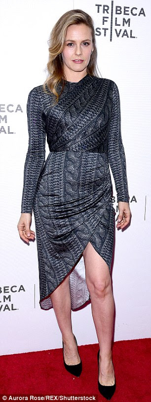 Go-to designer: Stylist Ariana Weisner put Alicia in a silver, knit-printed wrap dress from the Project Runway champ's FW/16 collection