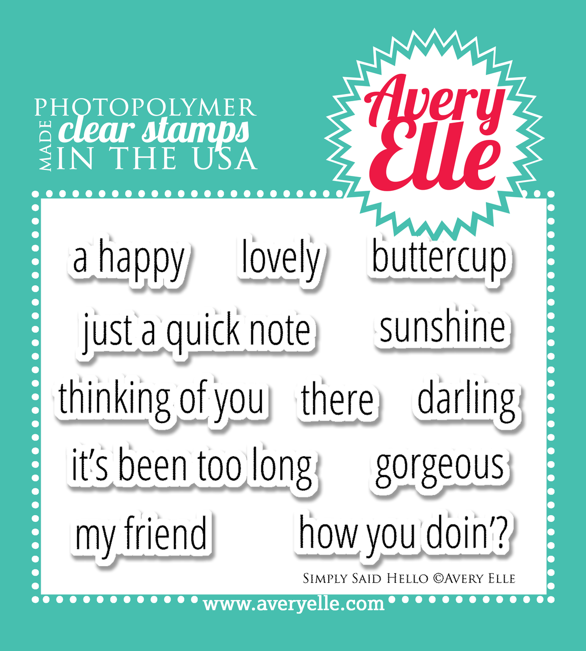 """Simply Said Hello 4"""" x 3"""" clear stamp set"""