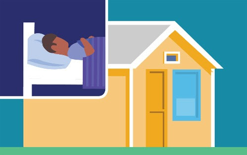 Illustration of house with inset of person laying down in bed