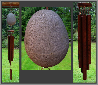 windchime, stone, beach stone, iron chimes, rusty