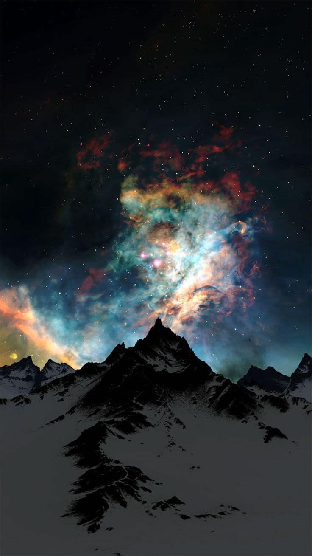 冬の雪山と夜空 Iphone6壁紙 Wallpaperbox