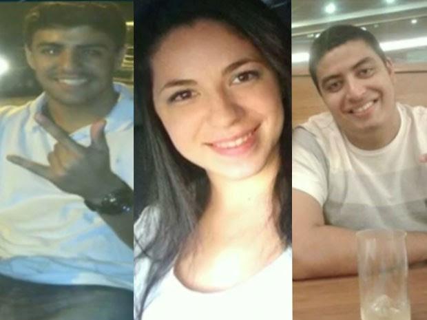 Filipe, Lilian e Rafael estavam no mesmo carro e morreram após veículo capotar (Foto: TV Globo / Reprodução)