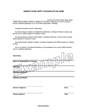 uscg third party authorization form Fill Online, Printable ...