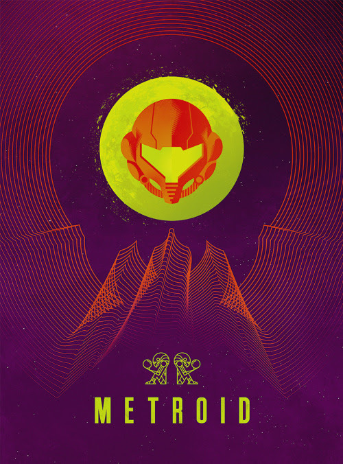 Retro Sci-fi Metroid Poster by Jeff Langevin