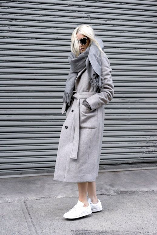 Le Fashion Blog Blogger Style Grey On Grey Look White Tortoise Sunglasses Grey Oversized Scarf Belted Longline Coat Charcoal Ribbed Sweater White Sneakers Via FIGTNY