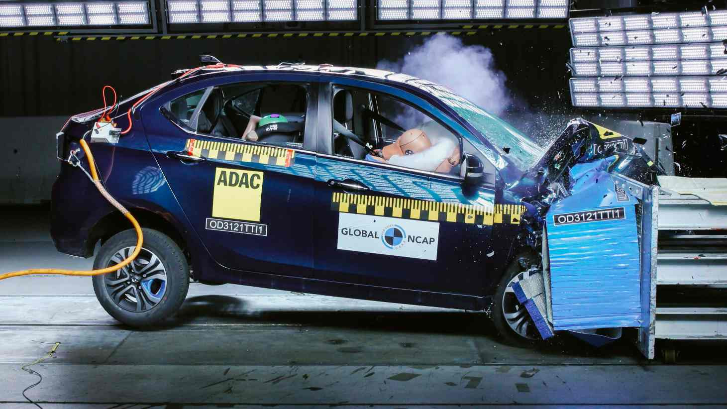 The Tata Tigor EV Ziptron is the first electric car to be tested by Global NCAP. Image: Global NCAP