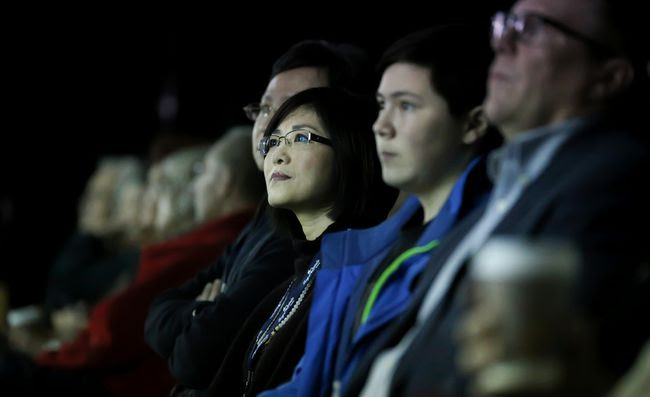 Filmmaker Doris Liu watches intently from a front-row seat at the world premiere screening of her documentary, In the Name of Confucius, at Downtown DocFest on Friday March 3, 2017 in Belleville, Ont. The film explores the growing global controversies surrounding China's multi-billion dollar Confucius Institute. Tim Miller/Belleville Intelligencer/Postmedia Network