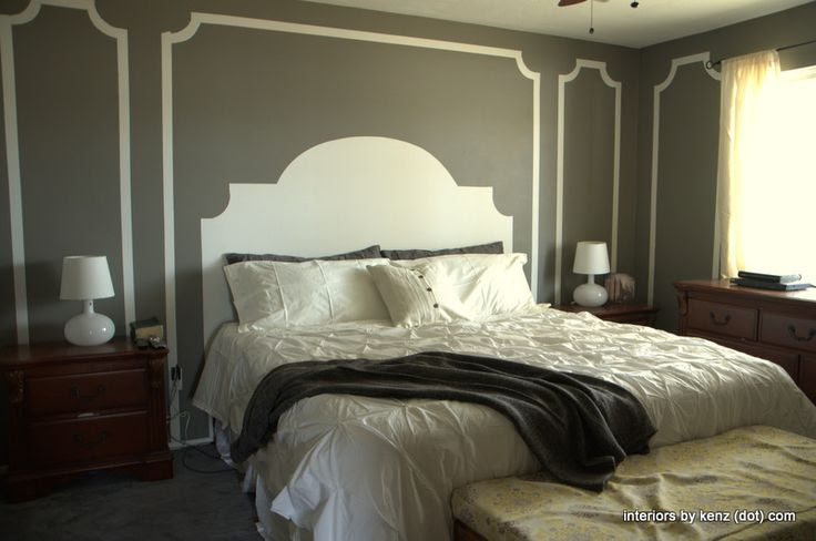 Very cool budget bedroom idea - a painted headboard and molding! Paint color is Restoration Hardware Slate color matched by Sherwin Williams (also shares the formula to take with you to the store).