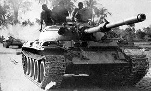 Indian T-55 tanks on their way to Dhaka.