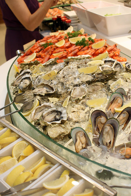 Seafood on ice - prawns, oysters, mussels
