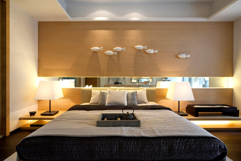 modern oriental bedroom blone wood cool neutrals steve ...