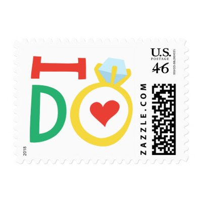 Colorful I do wedding ring love postage stamps by TheStationeryShop