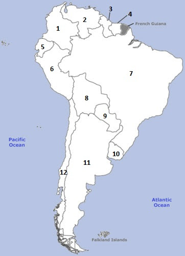 South America Map Without Country Names | Map Of Garden
