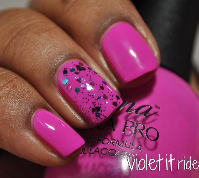 fuchsia cream with pink and blue glitter nail polish