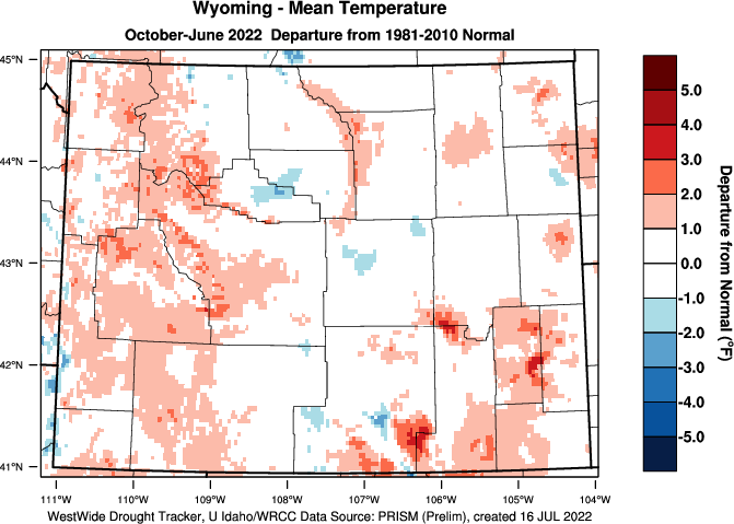 Wyoming: Water Year Departure from Normal Temperature
