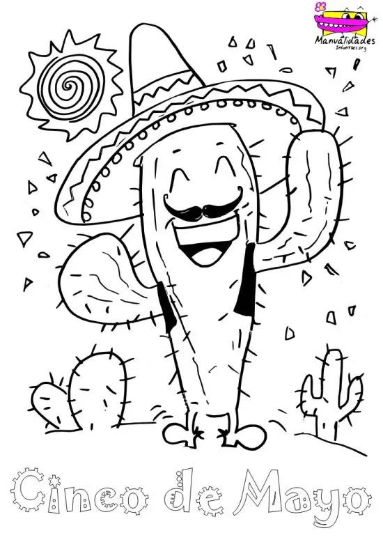 Cactus Mexicano Para Colorear El 5 De Mayo Actividades Para Niños