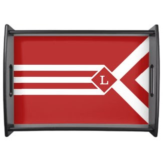 White Stripes and Chevrons on Red with Monogram Food Trays