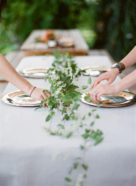 greenery wedding table garland   Once Wed