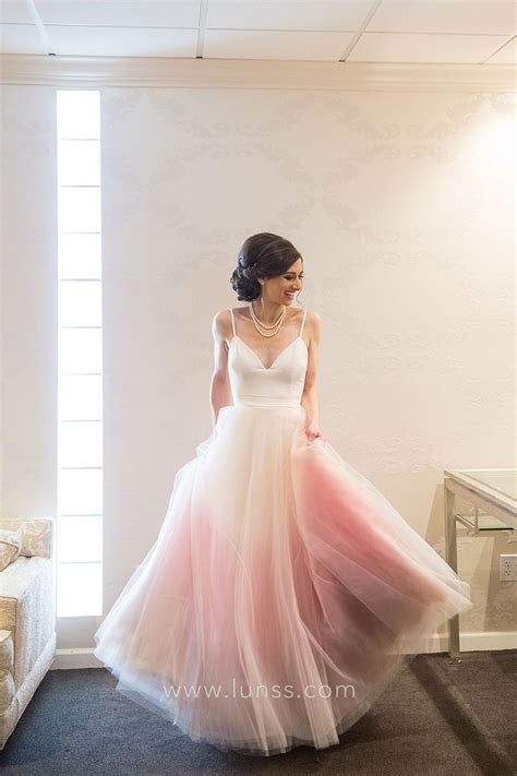 White and Pink Ombre Tulle Spaghetti Straps V Neck
