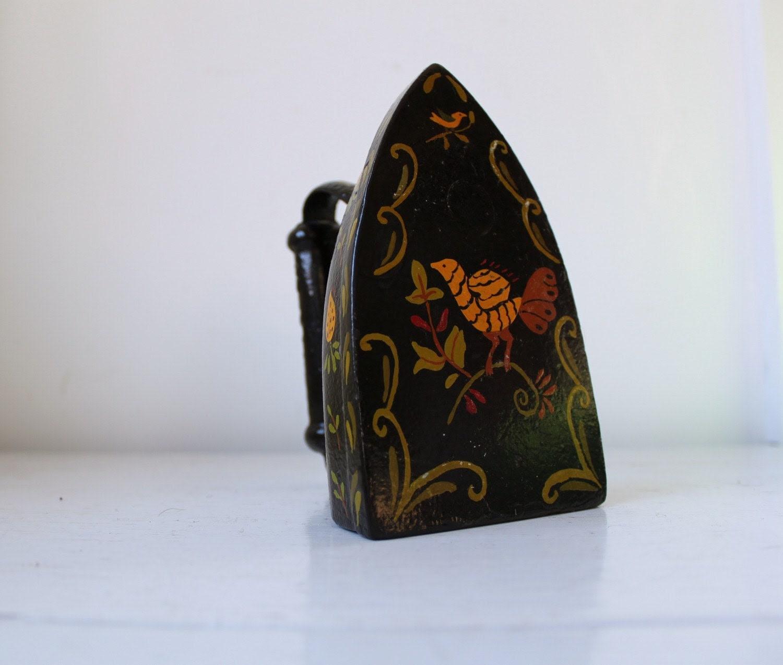 vintage antique tole painted sad iron
