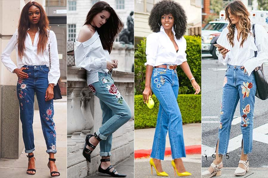 Resultado de imagem para como usar jeans bordados