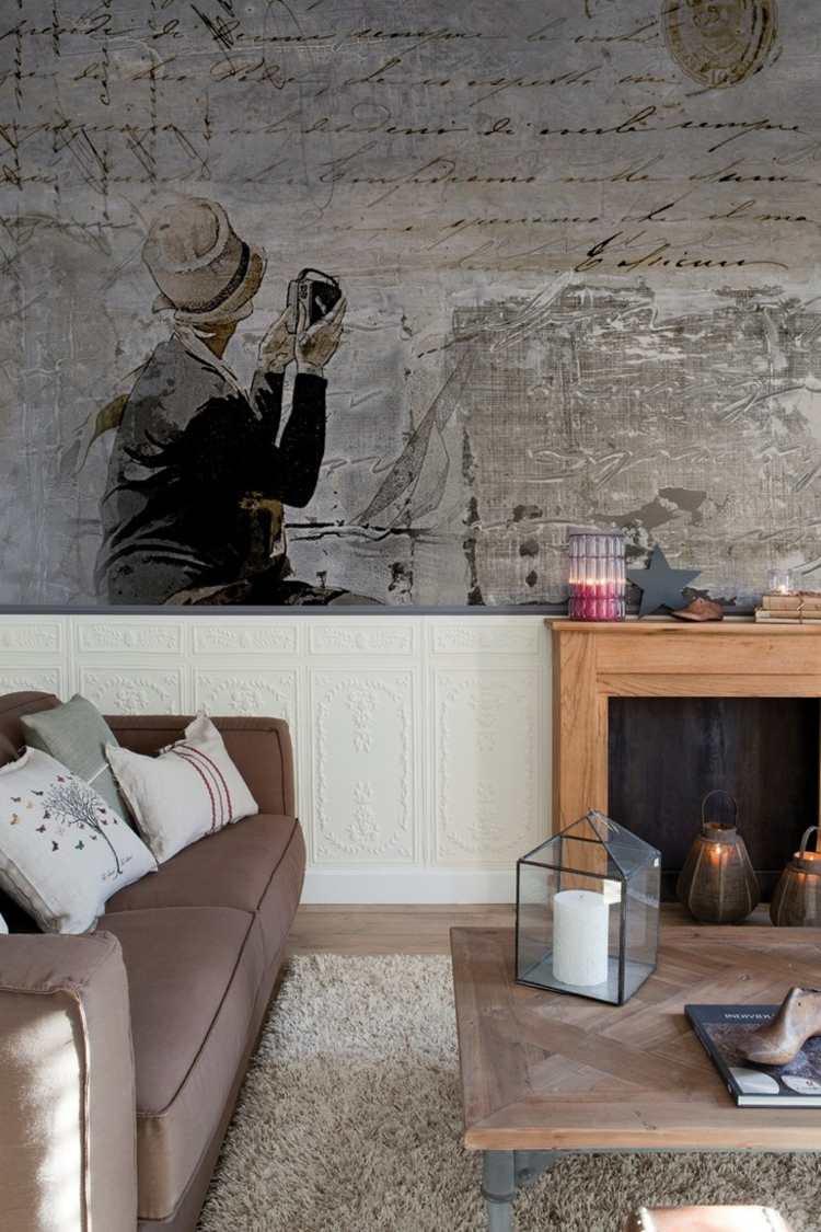 tapeten wohnzimmer modern grau  ideen für schlafzimmer wände
