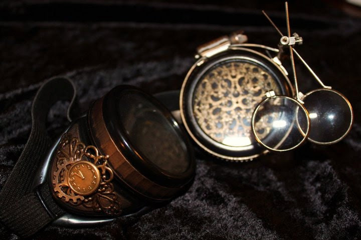 Steampunk Goggles PLUS Steel Ring and Dual MAGNIFYING LENSES - jmasserant