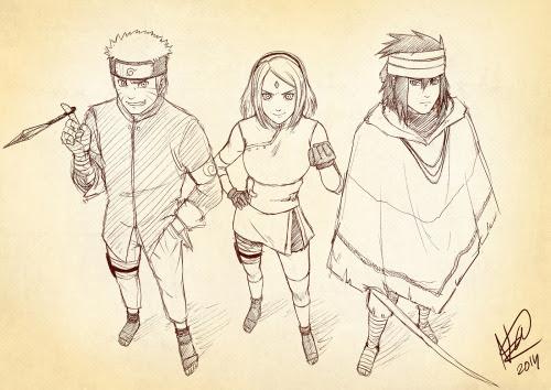 Fanart Sketch Naruto Shippuden Sasuke Uchiha Sakura Haruno Team 7 Naruto Uzumaki Naruto The Last Movie Kartasmita