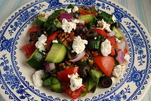 Greek-ish Salad with Spelt Berries