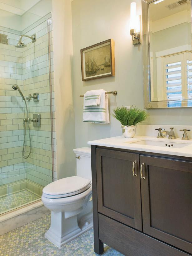 Contemporary Neutral Tiled Bathroom | HGTV