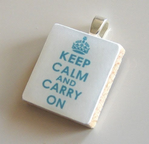 Scrabble Tile Pendant - KEEP CALM AND CARRY ON (Aqua on White) - Buy 2 Pendants Get 1 FREE