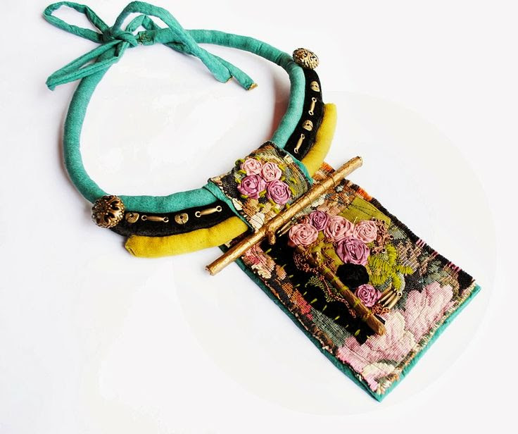 bohemian sin: On the sofa - statement mixed media necklace