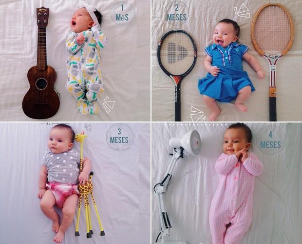 Flávia Rubim se diverte fazendo fotos da filha com objetos (Foto: Arquivo Pessoal)