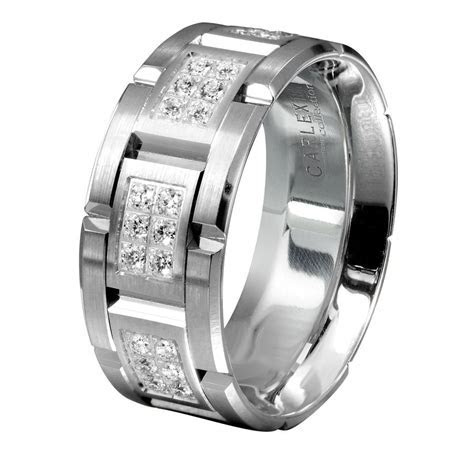 men's wedding bands   Men?s White Gold Diamond Wedding