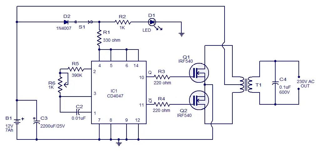 CIRCUIT: 100W inverter circuit