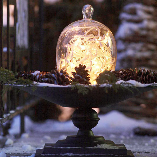 Christmas Light-Illuminated Glass Cloche