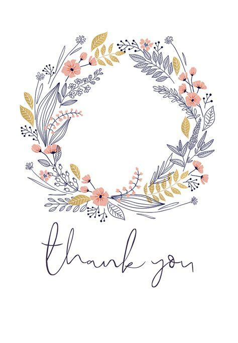 Wreath   Thank You Card Template (Free)   Greetings Island